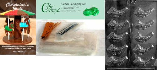 New Cybrtrayd Jewish Horn Chocolate Candy Mold with Chocolatier's Bundle, Includes 50 Cello Bags, 50...