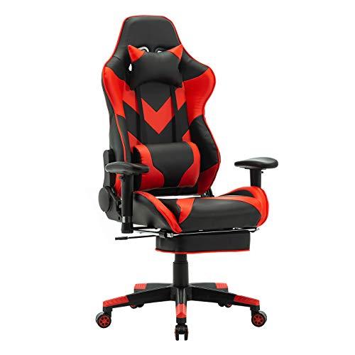 WOLTU® Racing Stuhl BS20rt Gaming Stuhl Bürostuhl Schreibtischstuhl Sportsitz mit Kopfstütze und Lendenkissen, Armlehne verstellbar, mit Fußstütze, Kunstleder, höhenverstellbar, Rot