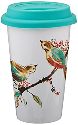 Blue Birds In Tree Porcelain To Go Cup With Lid