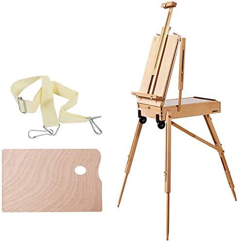 KANULAN Caballete pinturaCaballete de Artista de trípode, con Rueda Caballete de Escritorio multifunción de Doble Capa con Barra de Corbata portátilCaballetes