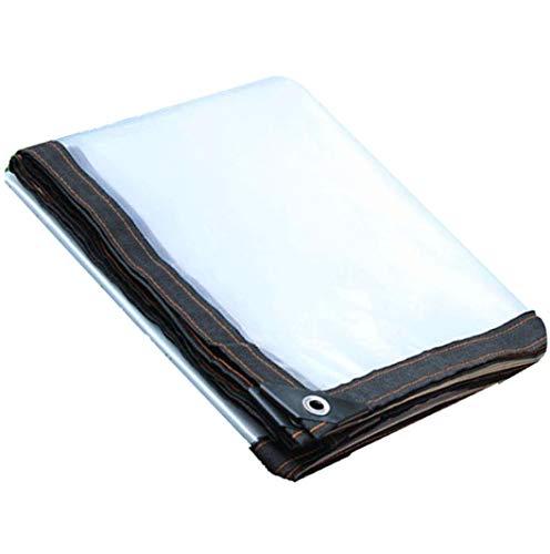 JHNEA Lona de protección Transparente, con Ojetes 120 g/m² Impermeable Lonas Polietileno de 5 Mil para Exterior, tejados y Obras,Clear_4x8m/12x24ft