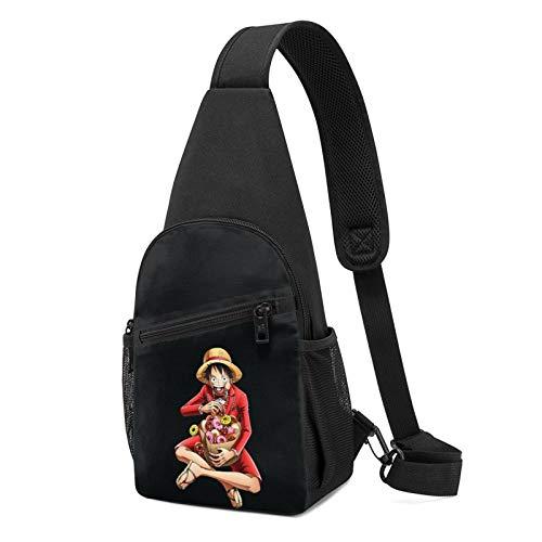 Anime ONE PIECE Monkey D. Luffy - Bolsa de hombro cruzado, bolsa de cintura para niños, deportes, viajes, senderismo, casual, cremallera ajustable.