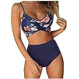 Zebin Traje de baño de dos piezas traje de baño bikini dividido con impresión floral de cintura alta camiseta + pantalón corto de baño para playa, piscina, fiesta, vacaciones Marina militar. L