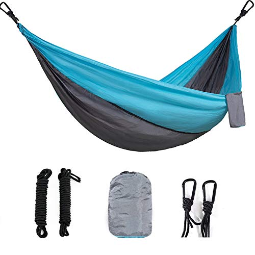 Camping Hammock Lightweight Portable Parachute Nylon Hammock Set for Indoor and Outdoor (Sky Blue/Light Gray, 1 Person)