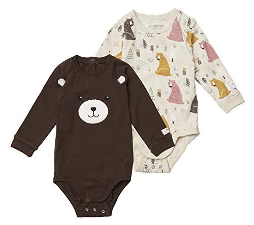 Tiny One Baby Body im 2er Set | Unisex | Mädchen und Jungen | Print | Biologische Baumwolle | GOTS | 0-18 Monate, Farbe:Bär - 2er Set, Größe:68 | 4-6 Monate