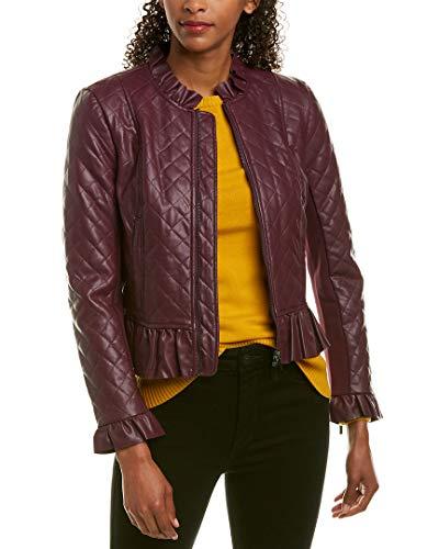 French Connection Women's Vegan Leather Jackets, Plum Noir Ruffle, 4