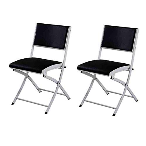 LLSS chair Folding Chair Comfortable PU Padded Backrest Seat Easy Storage Home Dining Office Reception Chairs,Black,Pack Of 2 Environmental rating