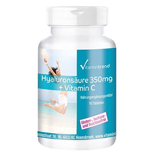 Ácido hialurónico 350mg + Vitamina C - 90 Comprimidos - Vegano - Altamente dosificado