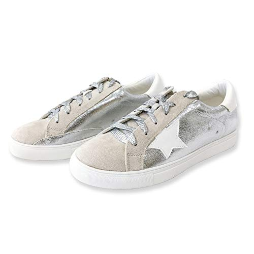 Nature Breeze Women Classic Two Tone Star Lace Up Fashion Sneakers,Silver Metal,8