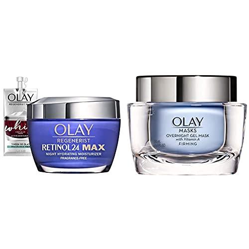 Olay Regenerist Retinol 24 Max Moisturizer, Retinol 24 Max Night Face Cream with Face Mask Gel by Olay Masks, Overnight Facial Moisturizer