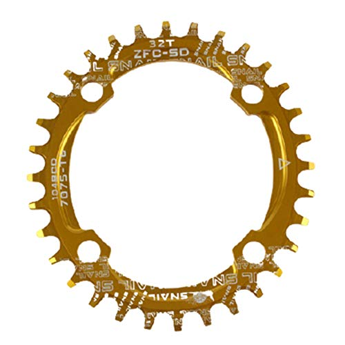 lamta1k Cadena para bicicleta, redonda/ovalada, 104BCD 32T 34T 36T 38T estrecha y ancha para bicicleta – Placa redonda 32 amarilla