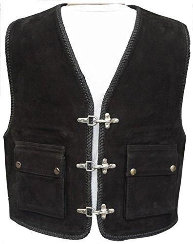 """Bad Company Leatherwear """"Kai"""" Clubweste aus Nubukleder in Schwarz mit aufgesetzten Taschen für Motorradfahrer und Biker, Gr.: 50"""