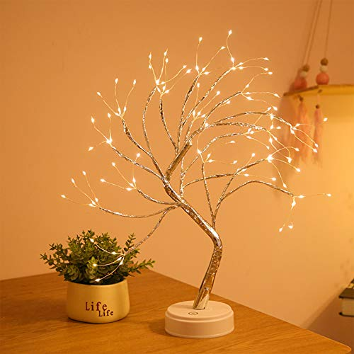 Desktop bonsai tree light, LED 108 copper wire tree, touch switch, USB/battery power, DIY artificial tree light, used for wedding Christmas interior decoration lights (108led copper wire warm white)