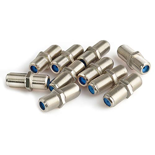 Pasow F81 Barrel Connectors High Frequency 3GHz Female to Female F-Type Adapter Couplers (10 pcs, Silver)