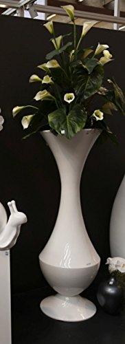 Gilde Vase décoratif en Fibre de Verre Grande Bianco Blanc Hauteur 160 cm