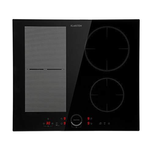 Klarstein Delicatessa 60 Hybrid Placa de cocina - Placa de inducción, Para empotrar, 4 zonas, 7000 W, Panel táctil, Flexzone, Sensor de sartenes, Autoapagado, Vitrocerámica, Negro