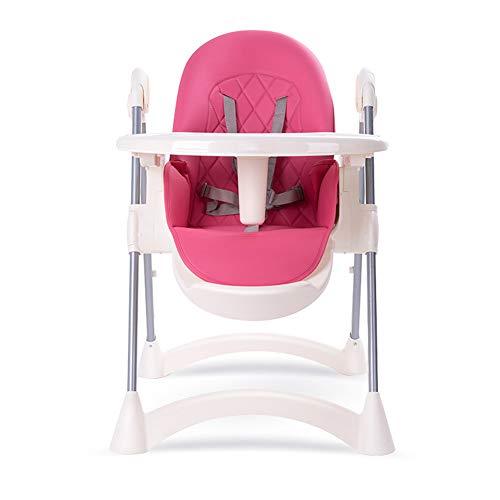 DZWJ Trona para bebé, Silla de alimentación Convertible con Bandeja Doble extraíble y arnés de Seguridad de 5 Puntos, Respaldo reclinable con 4 ángulos Ajustables,Rosado