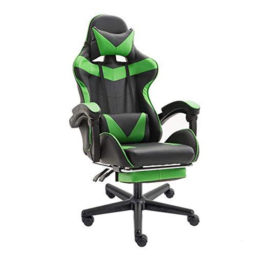 Gaming Chair Büro High Back Leder-Computer-Schreibtisch Racing Stuhl Vorstand Und Ergonomischer Drehstuhl Mit Kopfstütze Für Internet Cafe-Haus Mit Fußstützen B