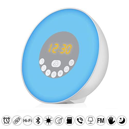 Klassieke wekker, radiowekker, bedlampje, LED Touch Control Nachtlampje, Sunrise Sunrise Sunset Simulator 6 natuurlijke geluiden 7 kleuren instelbaar, ideaal als cadeau in de slaapkamer