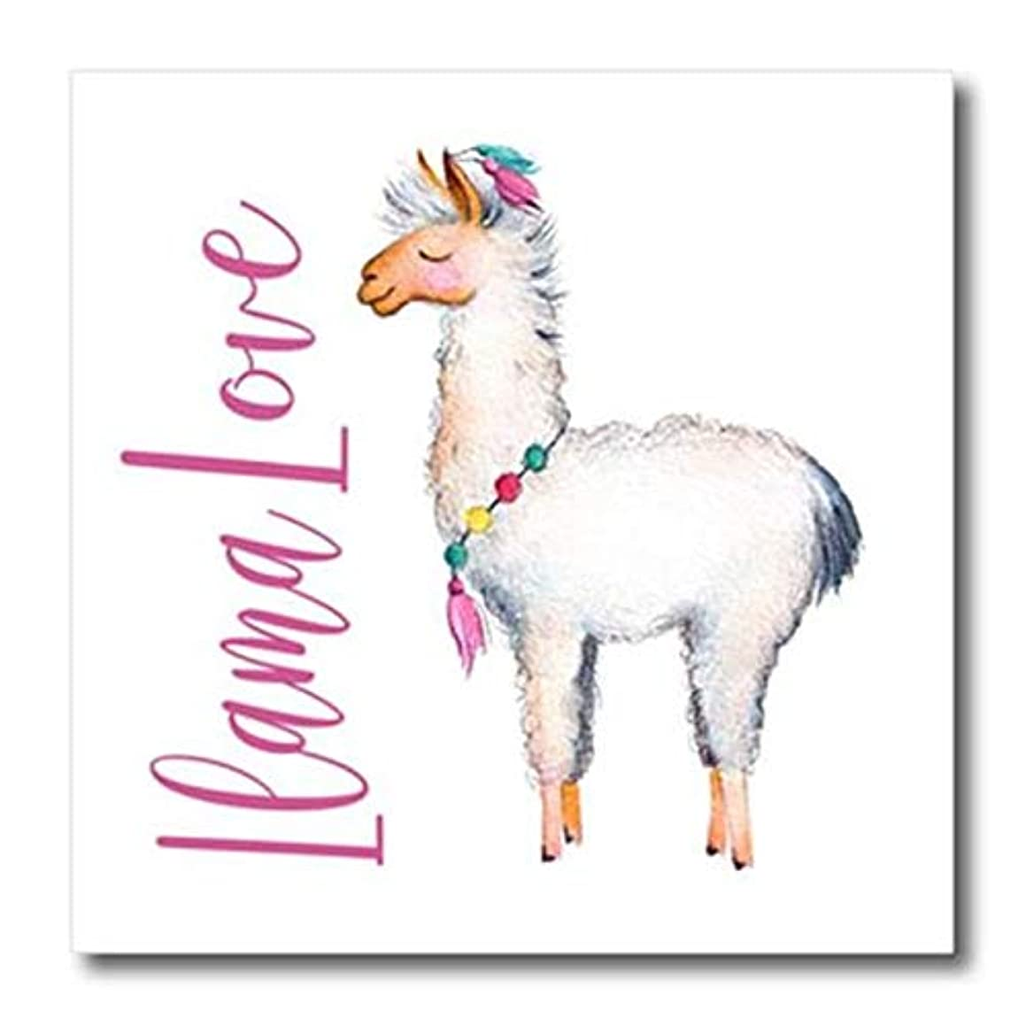 3dRose ht_254946_1 Cute Watercolor Words Llama Love Iron On Heat Transfer, Clear