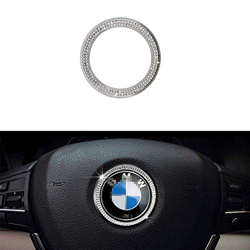 MAXDOOL Compatible Steering Wheel Logo Caps ring for BMW Accessories Parts Emblem Trim Covers Decal Sticker Bling Interior Decorations BMW 3 4 5 Series X3 X5 E30 E36 E34 E39 F30 F34 F36 F15 G01 G30 G3