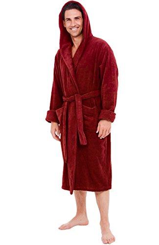 Alexander Del Rossa Mens Turkish Terry Cloth Robe, Thick Hooded Bathrobe, 3XL 4XL Burgundy (A0105WNE4X)