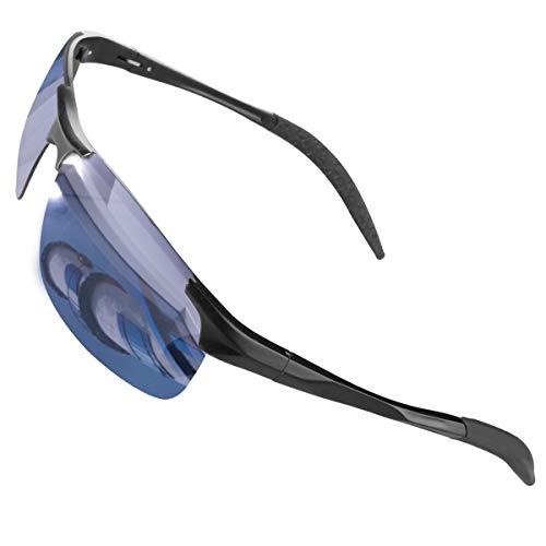 CHEREEKI Occhiali da Sole, Occhiali da Sole da Uomo e Donna Polarizzati con UV400 Protezione per Guida Sci Golf Corsa Ciclismo (Argento)