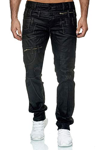 EGOMAXX Herren Hose Lederoptik Schwarz Nähte Muster Blickfang Biker, Farben:Schwarz, Größe Jeans:32W