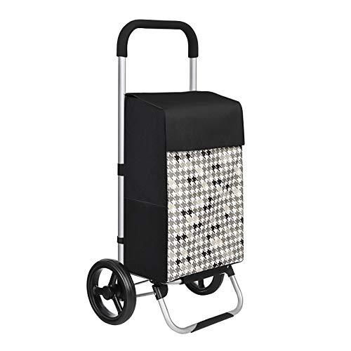 SONGMICS Einkaufstrolley, Einkaufswagen, mit Rädern, Fassungsvermögen 40 L, mit Taschen, leisen Rädern und Haken, 47 x 33 x 97 cm, stabil und robust, Hahnentrittmuster, schwarz KST06BF