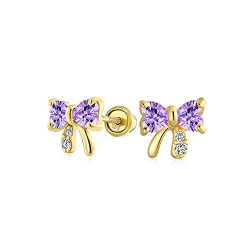 Winzige Minimalistische Zirkonia Lavendel Simuliert Alexandrit Cz Band Schleife Ohrstecker Für Frauen Echte 14K Gold Schraube Zurück