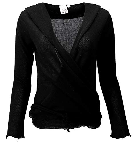 Guru-Shop Wickelshirt, Baumwollstrick Pullover, Wickeljacke, Damen, Schwarz, Baumwolle, Size:M (38), Pullover, Longsleeves & Sweatshirts Alternative Bekleidung