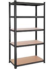 SONGMICS Legplank, rek voor zwaar gebruik, kelderplank, 200 x 100 x 50 cm, belastbaar tot 875 kg, 5 verstelbare legplanken, metalen legplank, legplank zonder bouten, werkplaatplank, zwart GLR050B01