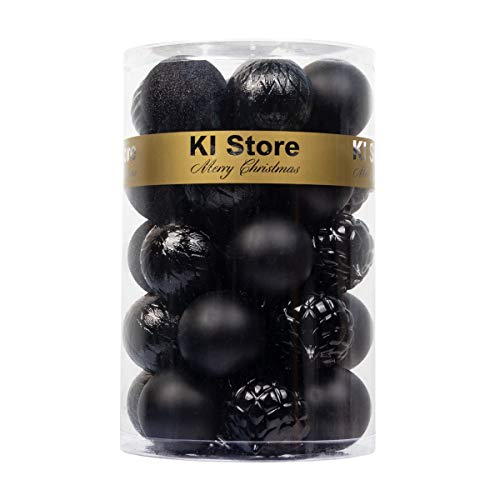 KI Store 34ct Christmas Ball Ornaments Black Shatterproof Christmas Decorations Tree Balls for Halloween Holiday Wedding Party Decoration, Tree Ornaments Hooks Included 2.36-Inch 60mm
