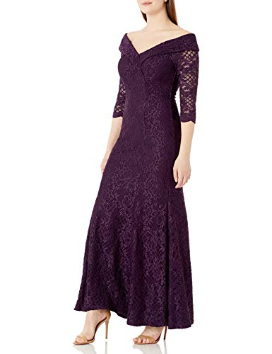 Alex Evenings Women's Long Lace Off The Shoulder Fit and Flare Dress, Plum 3/4 Sleeve, 10