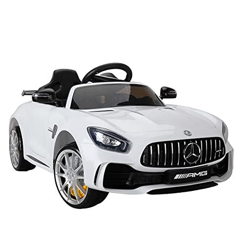 TOBBI Ride on Car for Kids w/ Remote Control, 12V Licensed Mercedes Benz AMG GTR Electric Vehicle with 2 Powerful Motors, LED Lights MP3 Music Horn, White