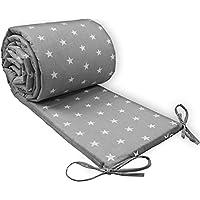 chichoneras cuna 60x120 - protector de cuna 120x60 bebe, chichonera cuna, ropa camas de bebé, algodón acolchado protector para bordes 210 x 30 Gris