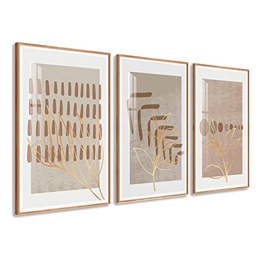 DekoArte - Cuadros Decoración | Moderno Sofisticado con Marco en PVC | Trípticos Decorativos Para Salón o Dormitorio | Póster con acrilico 0'5mm| Nordico, Nature, Minimalista | 3 piezas 150x70 cm