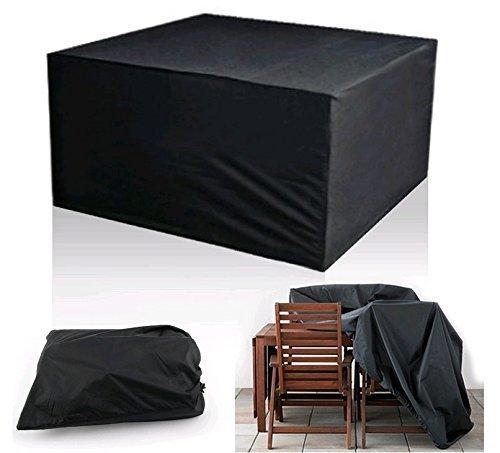 Diossad Housse de Protection Table de Jardin Rectangulaire Polyester pour Meuble de Jardin Noir 123 x 123 x 74cm