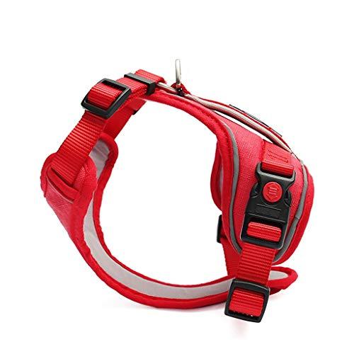 XL- verstelbaar hondenharnas, hondenriem reflecterende riem veilig voor de vlucht kleine kat en hondenharnas zacht, explosiebestendig netvest Large rood