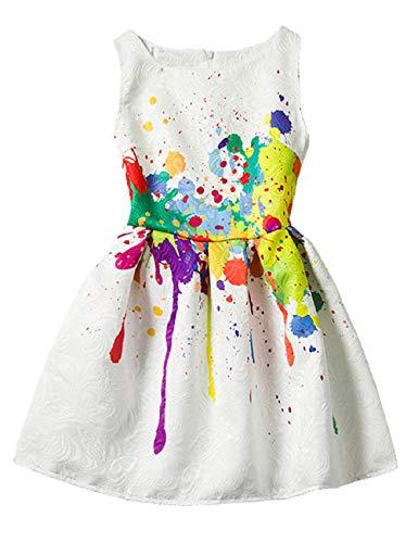 21KIDS Creative Art Colorful Print Girls Casual Dress,4,Art Paint