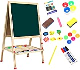 Dripex Kid's Wooden Art Easel, Double-Sided Height Adjustable Painting Blackboard with Magnetic Accessories Chalk and Sponge for Toddlers and Kids