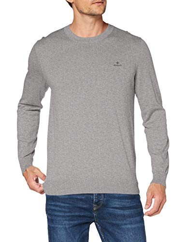 GANT Herren D1. Cotton Cashmere Crew Pullover, Grey Melange, XXXL