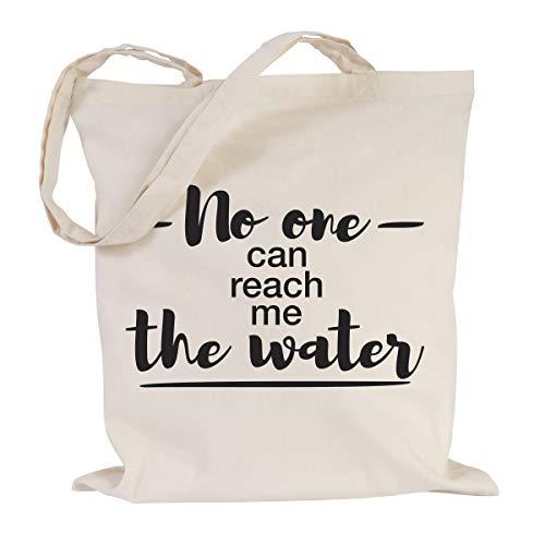 JUNIWORDS Jutebeutel, Wähle ein Motiv & Farbe, No one can reach me the water (Beutel: Natur, Text: Schwarz)