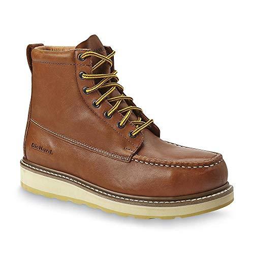 "ROCKROOSTER DieHard Men's Wide Boots SureTrack 6"" Full Grain Leather Soft Toe Moc Toe Lace Up Work Boots - Brown DieHard 84994W-10.5"