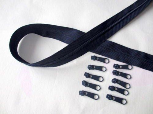 Slantastoffe 2m Reißverschluss endlos, Spirale 3mm + 10 Schieber-Zipper 33 Farben, Meterware (dunkelblau)