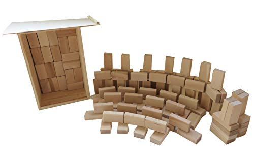 Original Baukid Holzbauklötze, GESCHENKEKISTE gefüllt mit 120 Bauklötzen Minis