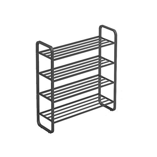 ZYuan 4-Nivel Simple Shoe Rack Económico Espacio Ahorro Forjado Hierro Casa Puerta Cabineta Mantenerse ordenado (Color : Black, Size : 45 * 30 * 45cm)