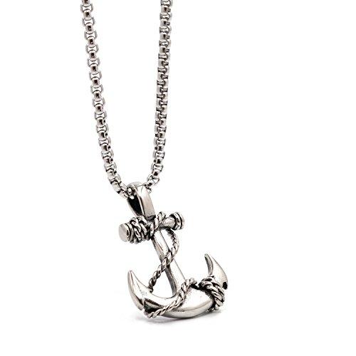 Lemu Jewelry - Collana da uomo con ciondolo a forma di ancora, in acciaio INOX, con catenina da 61 cm e Acciaio inossidabile, colore: Argento, cod. B0751MF1TS_US
