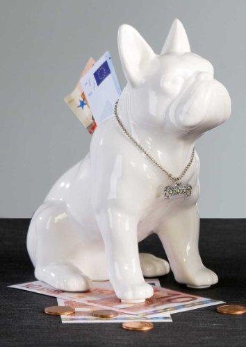 Spardose Mops sitzend aus weißer Keramik mit silbernem Halsband 15,5 x 17,5 cm