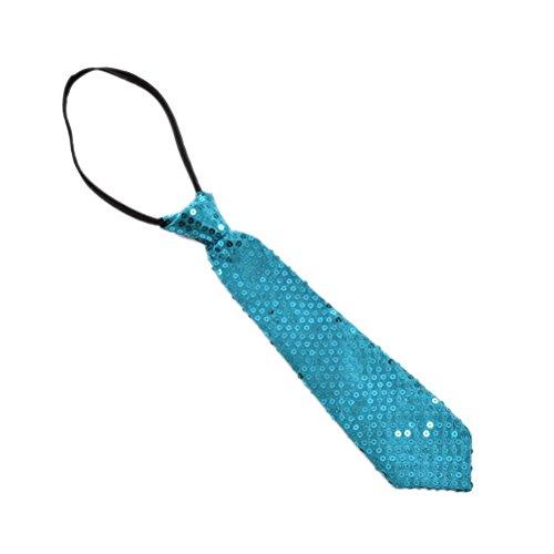 takestop® Corbata de lentejuelas, color azul teatro, de raso, para hombre y mujer, delgada, para fiesta de baile